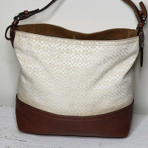 COACH Mini C Jacquard LG Beige Leather Tote 11666